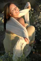 woman wearing organic fabric dress