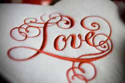 Love embroidery done with embroidery sewing machine