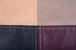 Leather patches with stitching