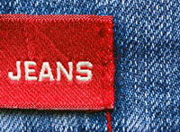 woven jeans label