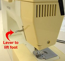lever to lift presser foot